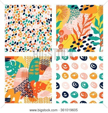 Abstract Shapes Geometric Vector Pattern Set In Bright Colors With Tropical Leaves, Brush Strokes An