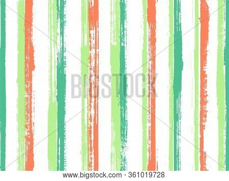 Watercolor Thin Grunge Stripes Vector Seamless Pattern. Distressed Candy Wrap  Sweet Design. Scratch
