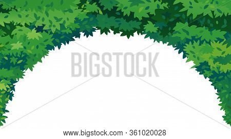 Green Leaves Arch On Top Isolated Illustration, Tunnel Of Green Foliage Decorative Composition, Dens