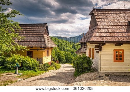 A Street With Ancient Houses In The Village Of Vlkolinec, Slovakia, Europe.