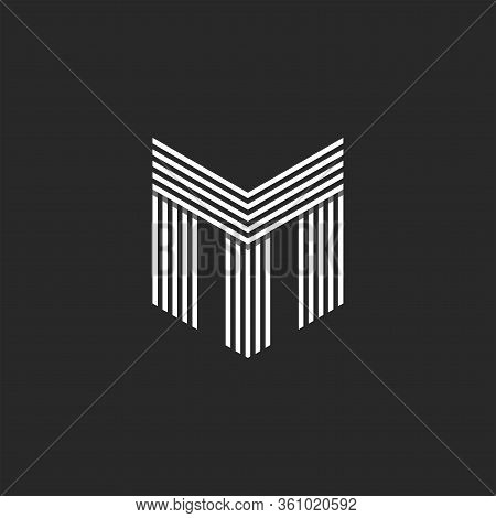 Monogram Initials Tm Or Mt Letters Logo, Overlapping Two Letter M And T Business Card Identity Emble