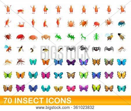 70 Insect Icons Set. Cartoon Illustration Of 70 Insect Icons Vector Set Isolated On White Background