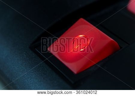 A Close Up Portrait Of A Red On Off Safety Switch Of A Power Strip With A Light In It To Show That T