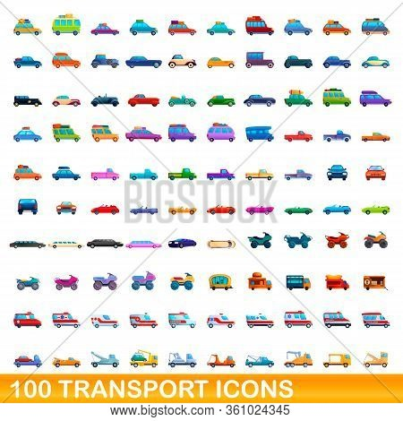 100 Transport Icons Set. Cartoon Illustration Of 100 Transport Icons Vector Set Isolated On White Ba