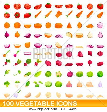 100 Vegetable Icons Set. Cartoon Illustration Of 100 Vegetable Icons Vector Set Isolated On White Ba