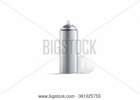 Blank Silver Opened Spray Can Mock Up, Front View, 3d Rendering. Empty Metallic Cylinder With Paint