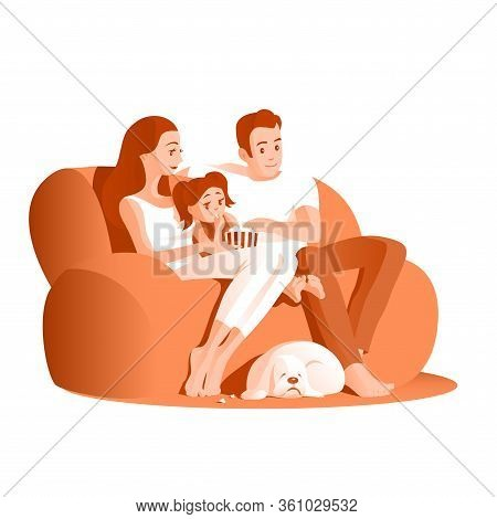 Young Family Have A Rest On A Sofa. Father, Mother, Little Girl And Cocker Spaniel Dog. Eat Popcorn