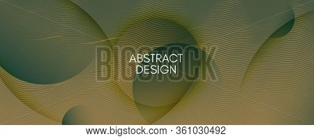 Camouflage Landing Page Design. Abstract Flow Lines Poster. Vector Minimal Background. Green Futuris