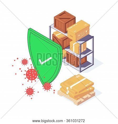 Isometric Coronavirus Safety Service Express Delivery Box Package Food Parcel Cargo And Goods Vector