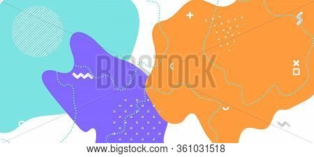 Purple Memphis Banner. Hipster Abstract Wallpaper. Futuristic Wave Backdrop. Multicolor Cool Element