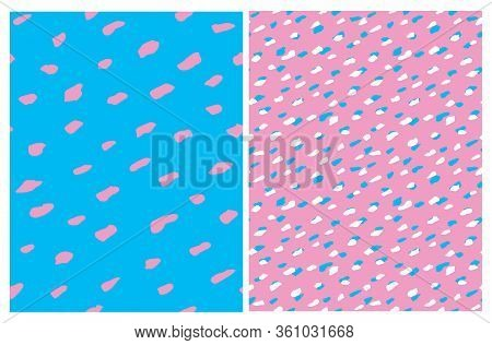 Funny Abstract Spots Seamless Vector Patterns. Pink Irregular Freehand Brush Lines On A Blue Backgro