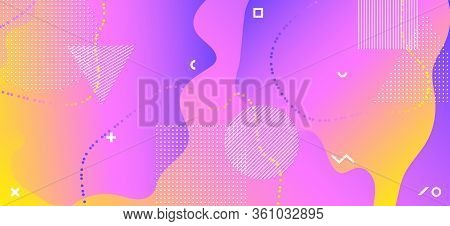 Yellow Liquid Concept. Summer Memphis Composition. Abstract Graphic Journal. Purple Wave Banner. Cre