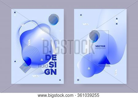 Blue Hipster Memphis Brochure. Vector Fluid Shape. Wave Cover. Trendy Geometric Magazine. Abstract M