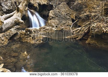 Beautiful Waters Of Vaioaga Waterfall In Autumn Season, Caranseber, Romania