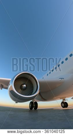 Airplane at the landing strip. Wide angle close up shot. 3D Render