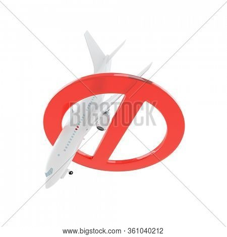 Airplane falls down through stop sign isolated on white. 3D render