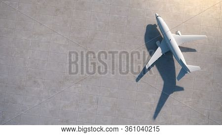 Airplanes at the empty airport. Aerial view. 3D Render