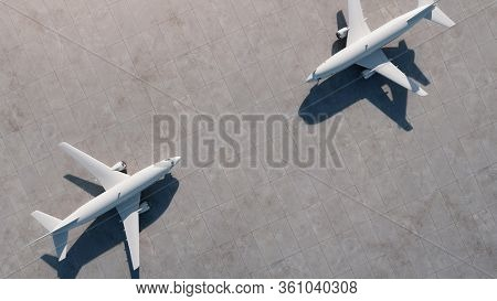 Two airplanes stand opposite each other at the airport. Aerial view. 3D Render