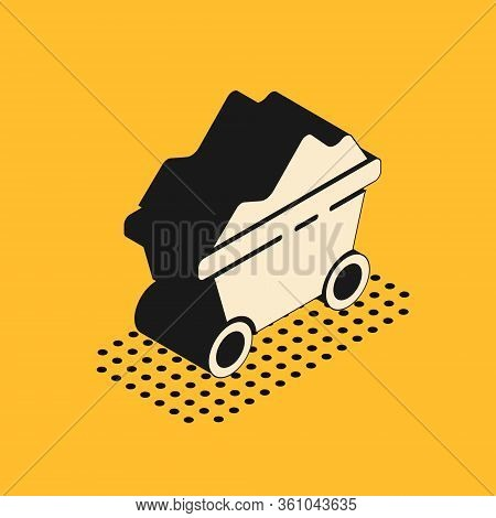 Isometric Coal Mine Trolley Icon Isolated On Yellow Background. Factory Coal Mine Trolley. Vector Il
