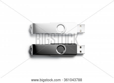 Blank Black And White Opened Usb Stick Mock Up, Isolated, 3d Rendering. Empty Netstick Or Memo Flash