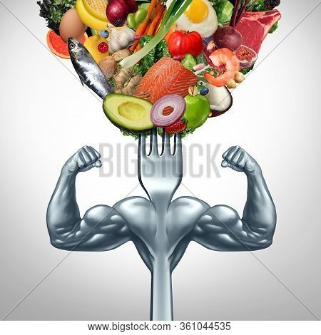 Powerful Food And Power Eating Symbol For Strenght Workout Or Working Out With Nutritional Supplemen