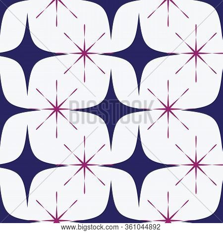 Vector Seamless Pattern Of A Maze Of Blue And Lila Stars And Four Corner Stars On A White Background