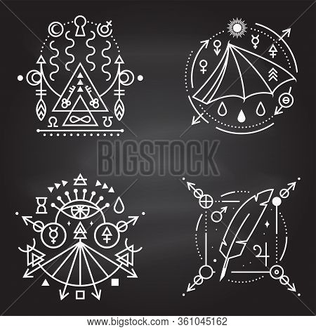 Esoteric Symbols. Vector Thin Line Geometric Badge On Chalkboard. Outline Icon For Alchemy, Sacred G
