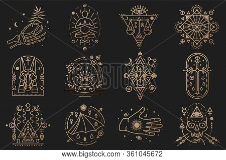 Esoteric Symbols. Vector. Thin Line Geometric Badge. Outline Icon For Alchemy, Tarot Cards, Sacred G