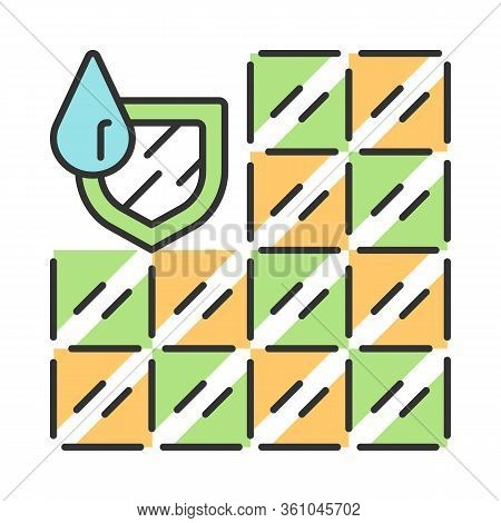 Waterproof Bathroom Tile Color Icon. Water Resistant Construction Material. Waterproofing Wall And F