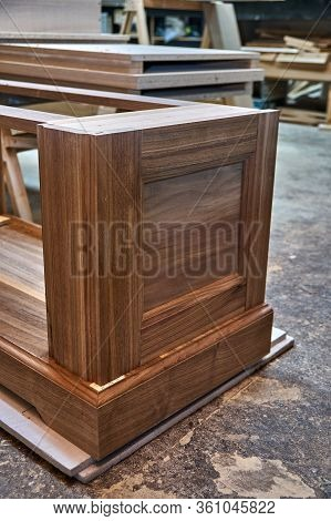 Dresser Elements In A Workshop. Solid Wood Chest Of Drawers. Furniture Manufacture