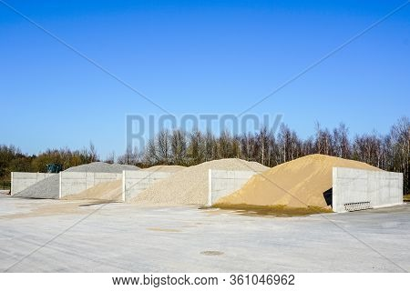 Aggregate For Concrete Production At Stockpile Of Concrete Mixing Plant