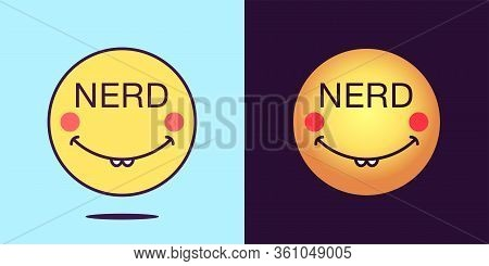 Emoji Face Icon With Phrase Nerd. Dilly Emoticon With Text Nerd. Set Of Cartoon Faces, Emotion Icon