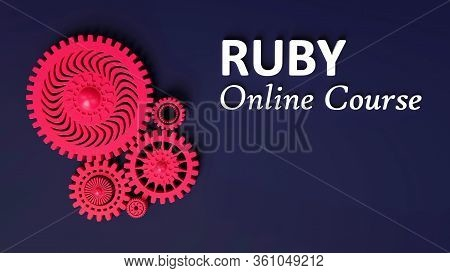 3d Illustration Of Advertisement Of Ruby Online Course With Composition Of Red Pink Coral Gears Symb