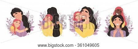 Beautiful Young Woman And Her Charming Little Daughter. Girl Hugs Mom And Smiles. Set Of Illustratio