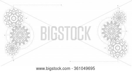 Gears On A White Background .technical Drawing Of Gears .rotating Mechanism Of Round Parts . Vector
