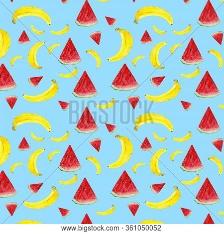 Banana And Watermelon Pattern On A Blue Turquoise Background. Ideal To Illustrate A Summer Menu In T