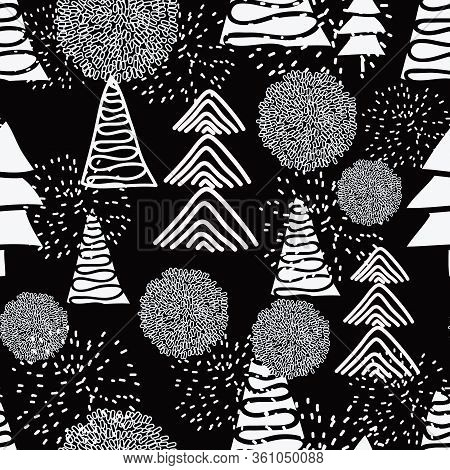 Vector Seamless Pattern, White Christmas Trees And Snow Balls And Pompoms On Black Background. Black