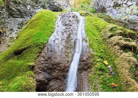 Close Up Of Susara Waterfall In Anina Mountains, Romania