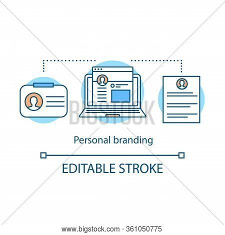 Personal Branding Concept Icon. Brand Strategic Planning. Self-positioning Idea Thin Line Illustrati