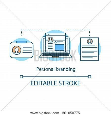Personal Branding Concept Icon. Brand Strategic Planning. Self-positioning Idea Thin Line Illustrati