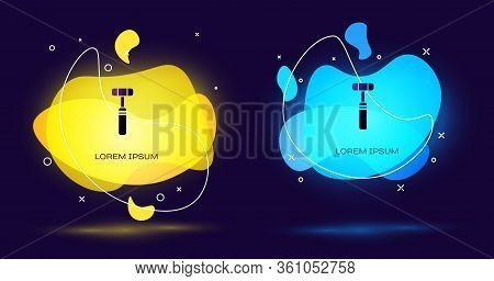 Black Neurology Reflex Hammer Icon Isolated On Black Background. Abstract Banner With Liquid Shapes.