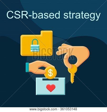 Corporate Social Responsibility Flat Concept Vector Icon. Csr Strategy Idea Cartoon Color Illustrati