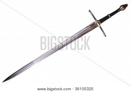 Medieval sword isolated on white background disposed by diagonal poster