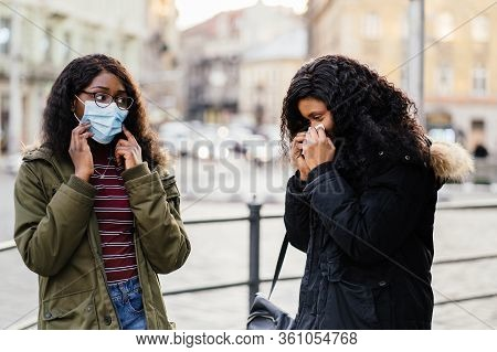 Sick Asian Child Girl With Fever And Dry Cough, Woman Opened A Protective Mask While Coughing, Sprea
