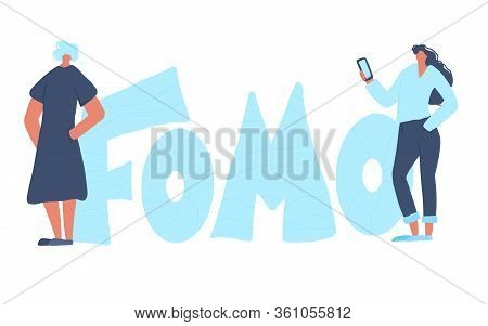 Fomo Abbreviation Text Emblem Isolated On White Background. Two Young Women Feeling Social Anxiety.