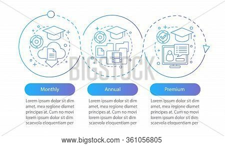 Online Educational Courses Subscription Vector Infographic Template. Monthly, Annual Tariff Plans. D