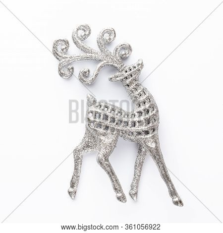 Christmas Decor Closeup On A White Background. Isolated - Image