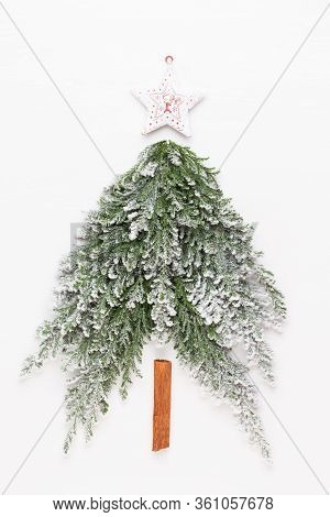 Christmas Tree Flat Lay On The White Background. New Year Concept. Copy Space.  Flat Lay. Top View.