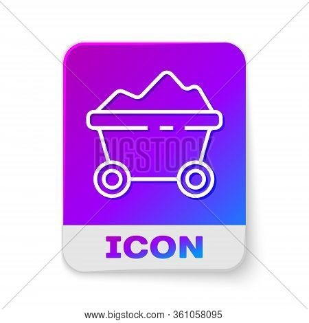 White Line Coal Mine Trolley Icon Isolated On White Background. Factory Coal Mine Trolley. Rectangle