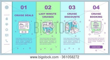 Cruise Onboarding Mobile Web Pages Vector Template. Deals, Last Minute Cruises, Discounts, Booking.